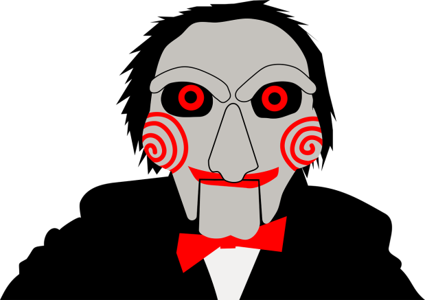 digital illustration of jugsaw, villian from saw movie franchise