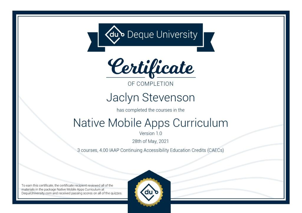 DeQue University certificate of completion