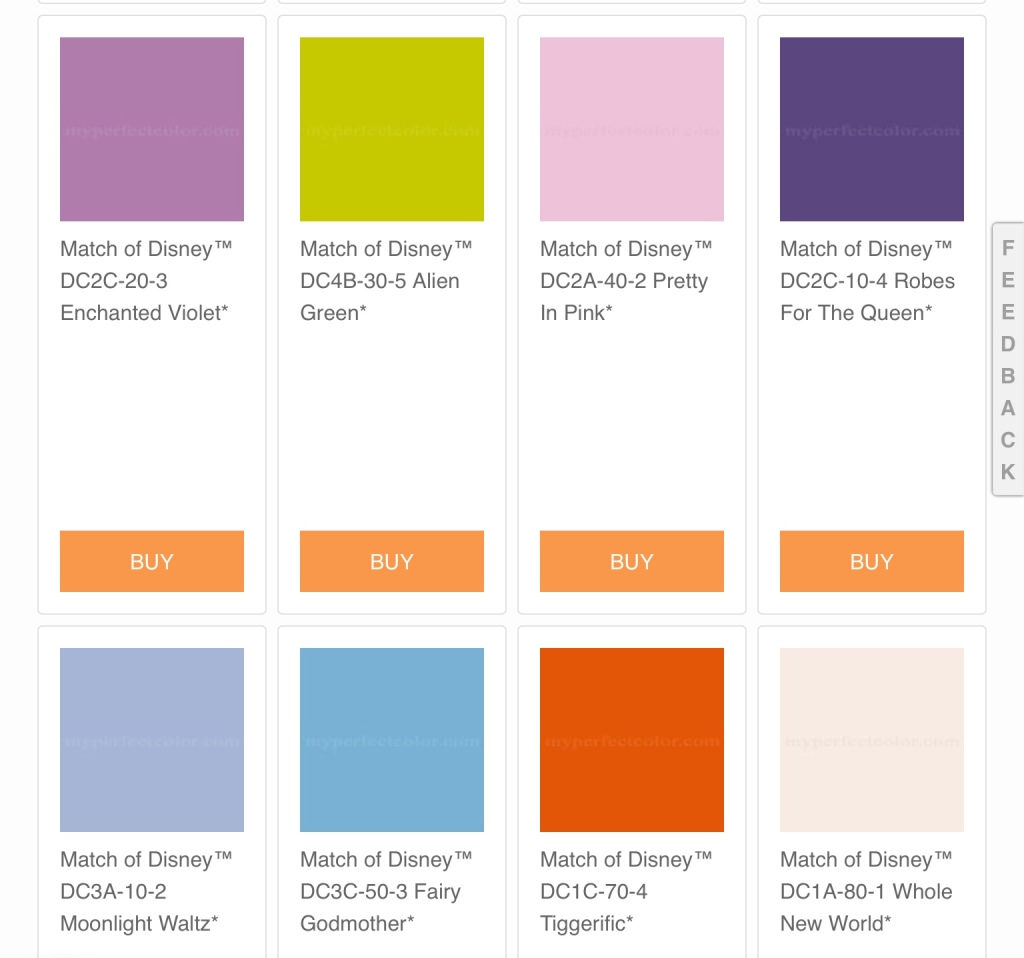 A swatch of eight different paint colors all with Disney names